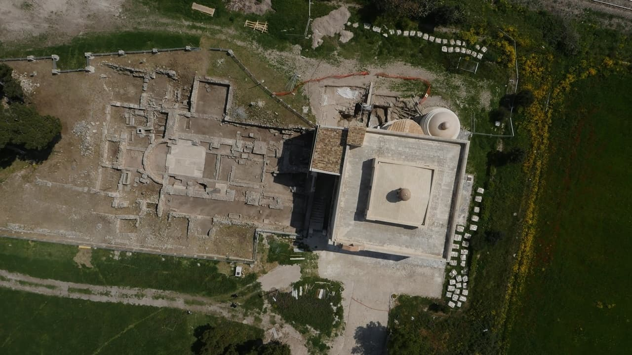 An aerial view of the early Christian basilica at Siponto, next to the Church of Santa Maria.