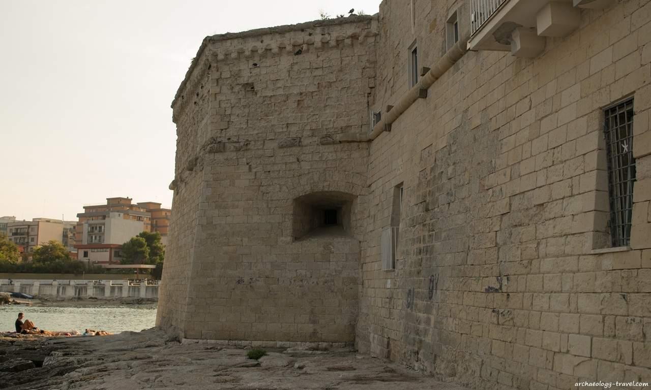 Medieval city walls in Monopoli, Puglia.