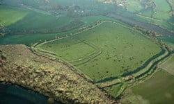 Foundations of the Jordan Hill Roman Temple in Dorset (UK).