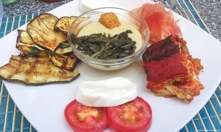 Typical antipasti served in Puglia.