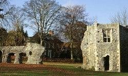Ruins of the Benedictine Bury St Edmunds Abbey.