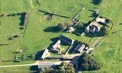 An aerial view of Denny Abbey, with the associated Farmland Museum.