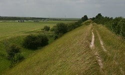 The ridge that is Devil's Dyke alongside the July Course, Newmarket, Cambridgeshire.