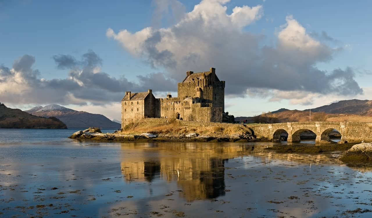 The castle on the tidal island of Eilean Donan, in the Scottish Highlands.