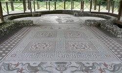 Mosaic floor in the Littlecote Roman villa.