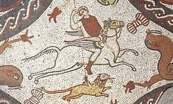 A 4th century AD mosaic at Lullingston Roman Villa depicting Bellerophon on horseback.