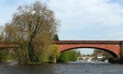 Maidenhead Railway Bridge and Guards Club Island looking upstream.