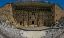 The theatre in Orange, Provence is one of the best preserved Roman theatres.
