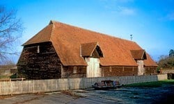 An exterior view of Prior's Hall Barn in Widdington, Essex.