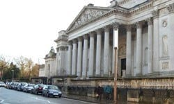 The striking neoclassical entrance to the Fitzwilliam Museum in Cambridge.