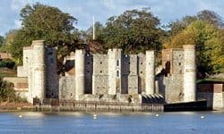 View of Upnor Castle on the banks of the Medway River in Kent.