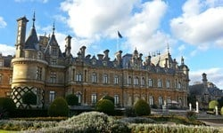 The front facade of the late 19th century Waddesdon Manor, near Aylesbury.
