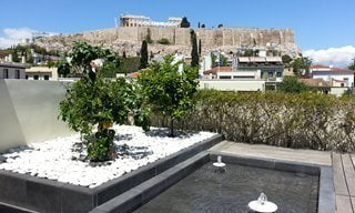 View of the Acropolis from the Herodion Hotel in central Athens.