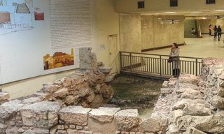 In situ ruins of 4th century BC Athens on display in Monastiraki Metro Station.