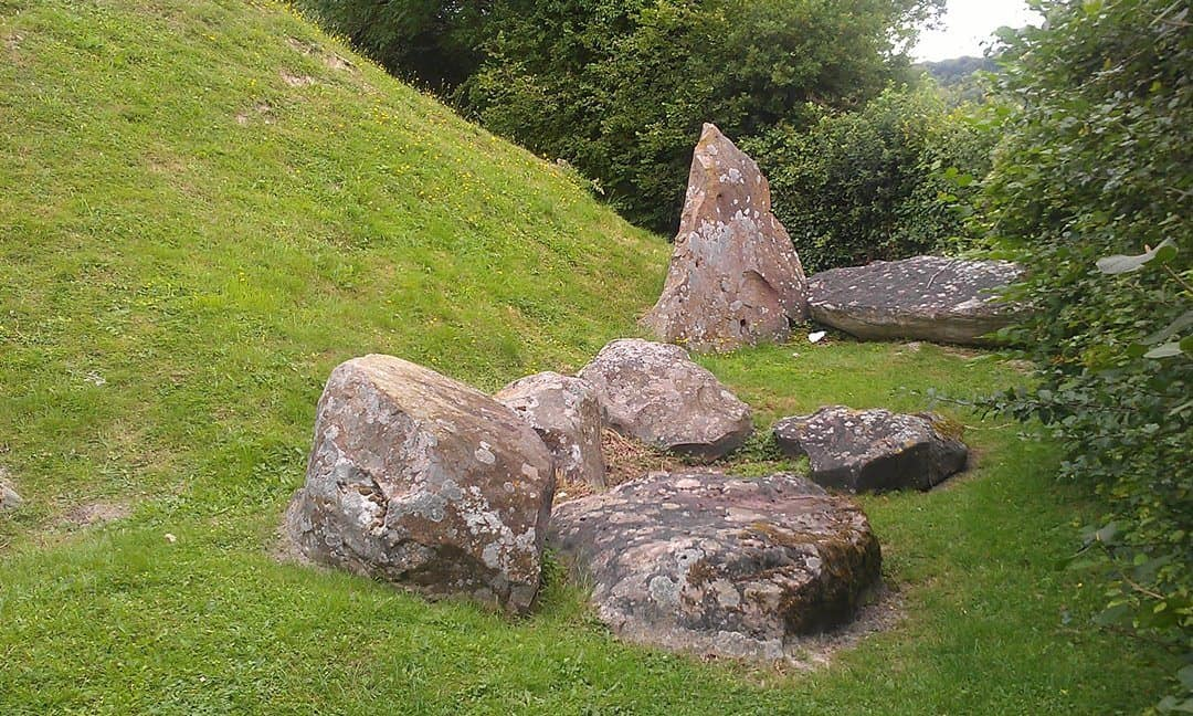 Fallen megaliths at the Coldrum Long Barrow, Kent.