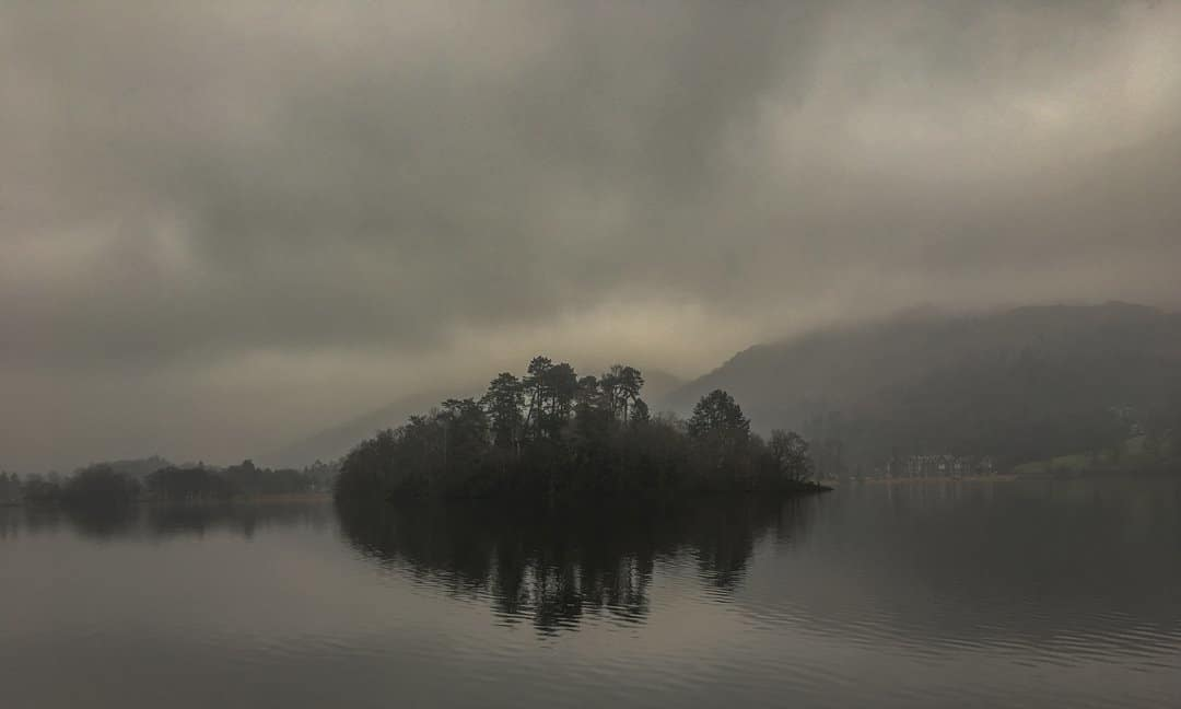An island in the middle of Grasmere Lake.