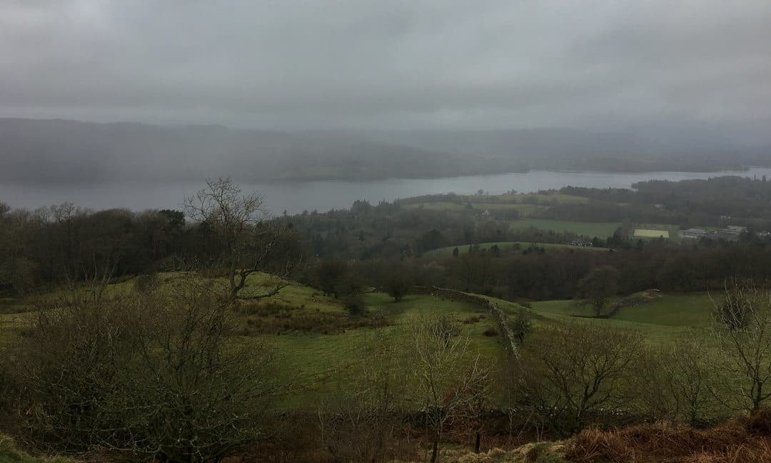 A view over Lake Windermere on a misty March day.