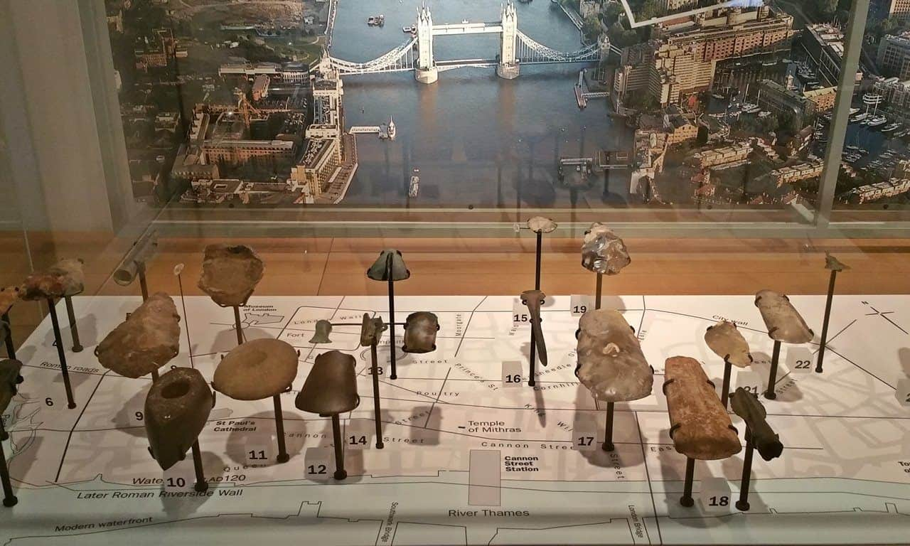 Display of prehistoric London: the stone and metal artefacts and where they were found in the city.