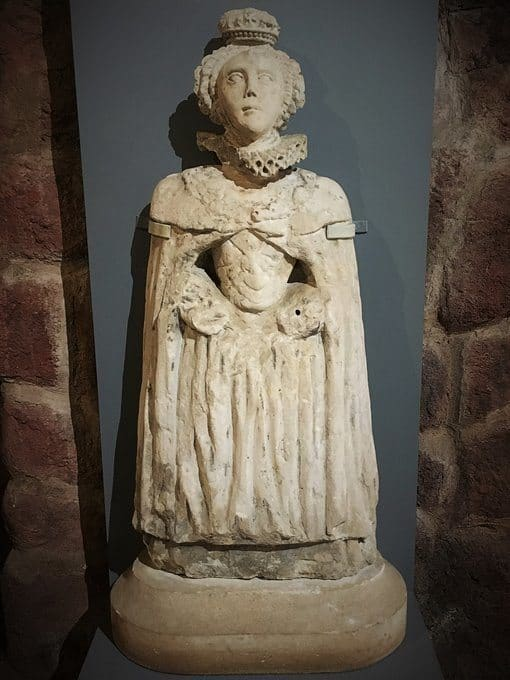 A 16th century sculpture of Queen Elizabeth I, on display in the Heritage Centre.