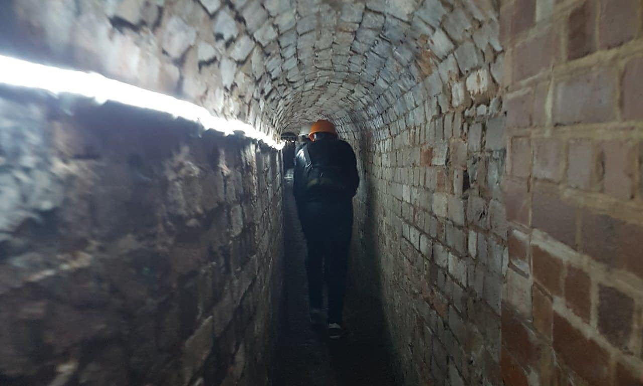 Walking through the underground passages in Exeter - fully lit throughout.