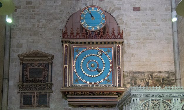 The cathedral's astronomical clock, said by some to be the origins of the song 'Hickory Dickory Dock'.
