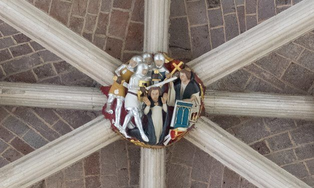 A boss in the ceiling of Exeter Cathedral that depicts the murder of Thomas Becket.