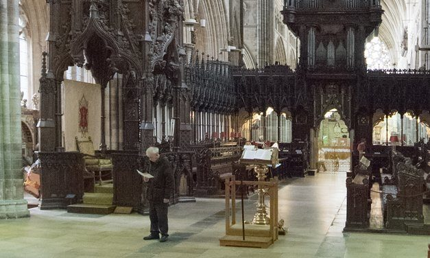 The base of the 18 metre-high Bishop's throne in Exeter Cathedral.