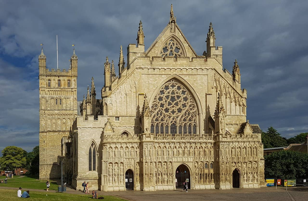 The western entrance of the Cathedral in Exeter, with its striking Gothic façade.