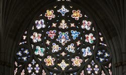 The rose window from inside Exeter Cathedral.