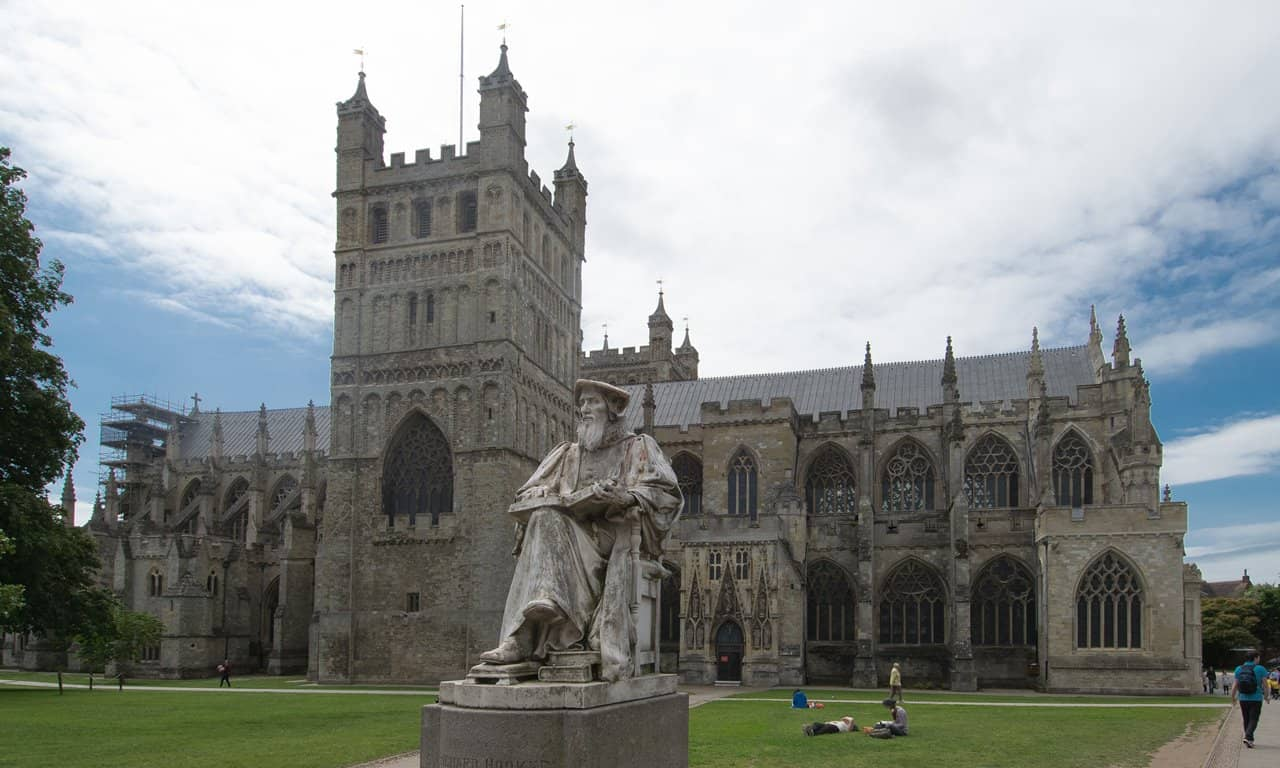 Exeter Cathedral, with the north tower and statue of Richard Hooker.
