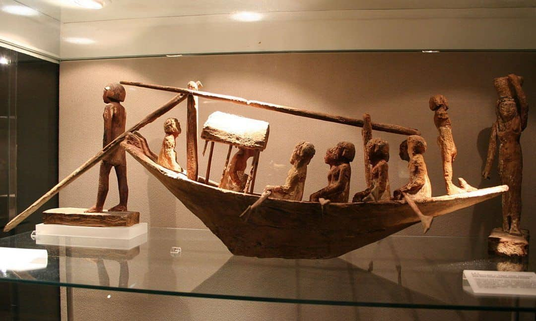 A model of a funerary boat found in the tomb of Herishefhotep, a Middle Kingdom priest. Egyptology Museum, Leipzig.