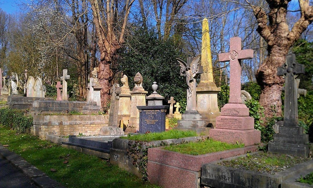 Graves in the eastern section of Highgate Cemetery, north London.