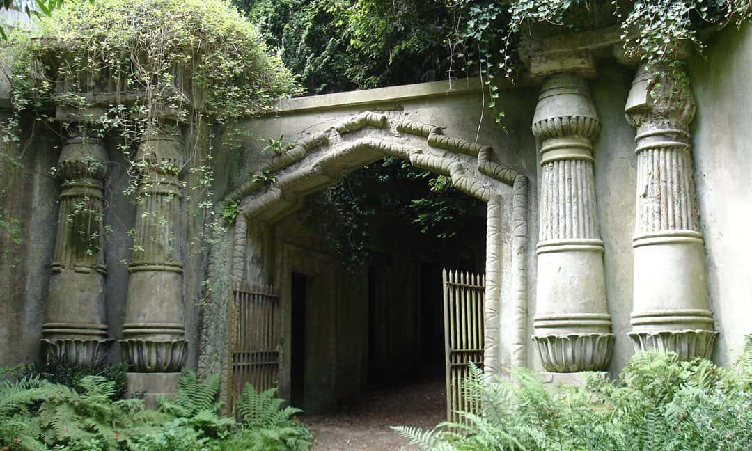 The entrance-way to the Egyptian Avenue in the western section of north London's Highgate Cemetery.