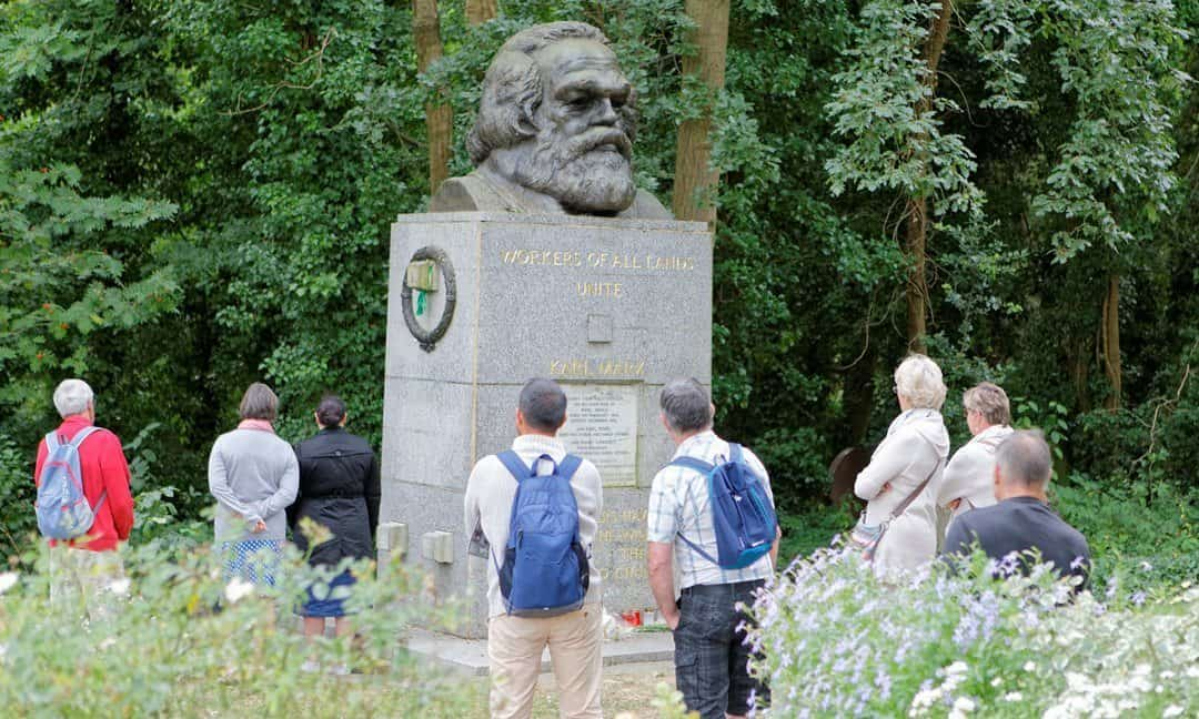 The monument erected by the Communist Party of Great Britain to commemorate Karl Marx in the eastern half of Highgate Cemetery, north London.