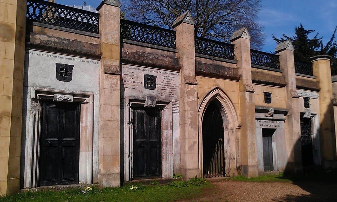 Crypts in the western section of Highgate Cemetery, north London.