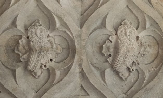 Carved owls on the wall of Bishop Oldham's Chapel in Exeter Cathedral.