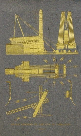 Gold-gilt diagram on on the Luxor Obelisk showing how it was raised on the Place de la Concorde in Paris.
