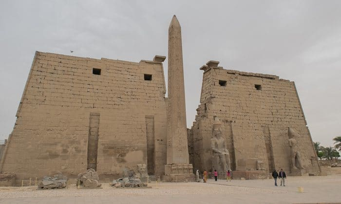 The remaining obelisk in front of teh first pylon at the Temple of Luxor.