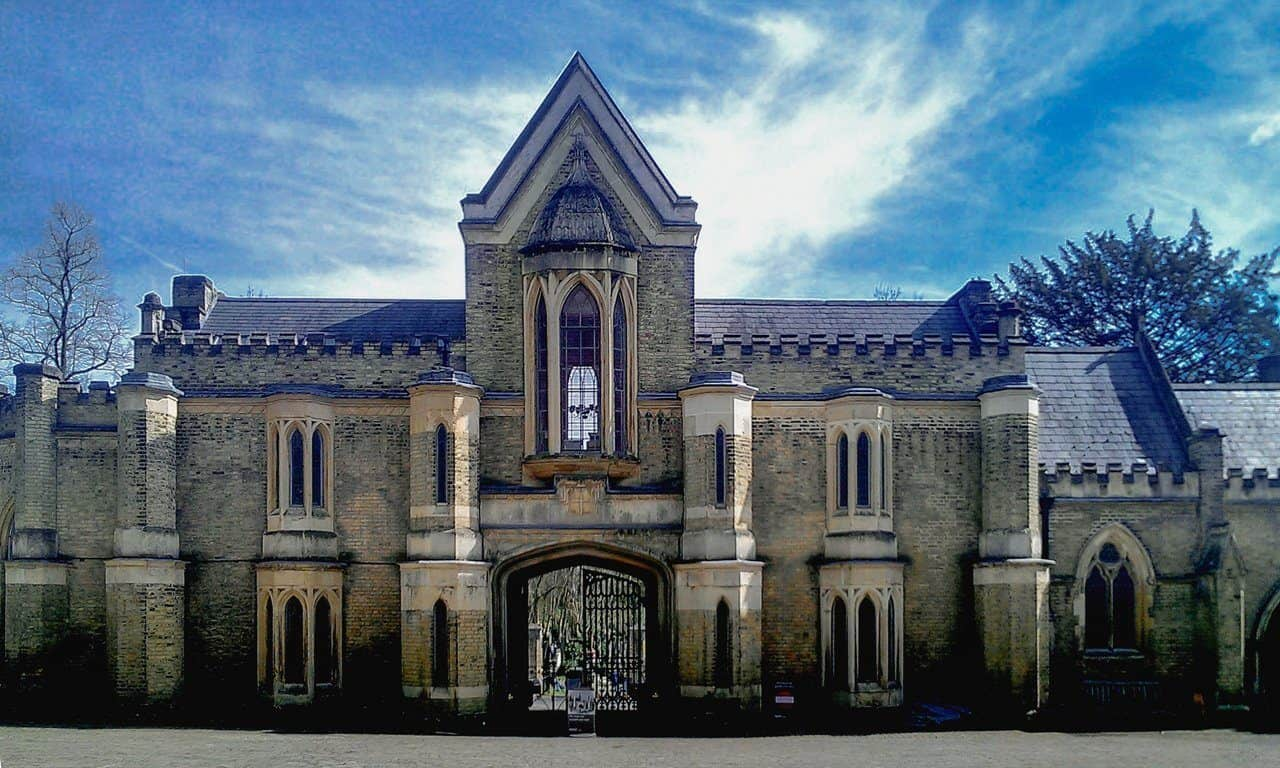 The Neo-Gothic building at the entrance to the western part of Highgate Cemetery, north London.