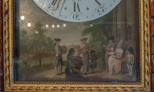 Detail of painting on a late 18th century luxury clock made in Amsterdam.