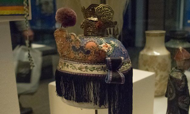 An exquisitely decorated hat worn by a Daoist priest, from China in the 19th century.