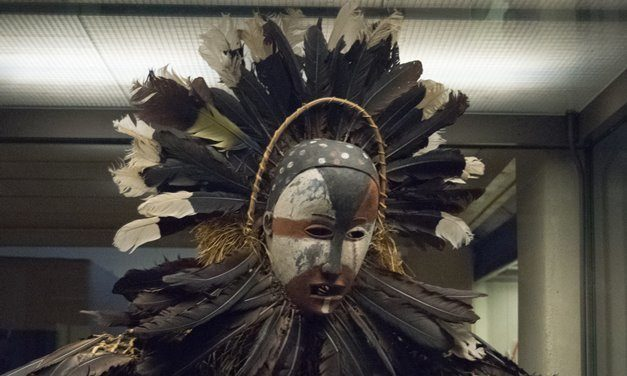A feathered costume of a Ndungu spirit collected by Richard E. Dennett in the Congo in the 1880s.