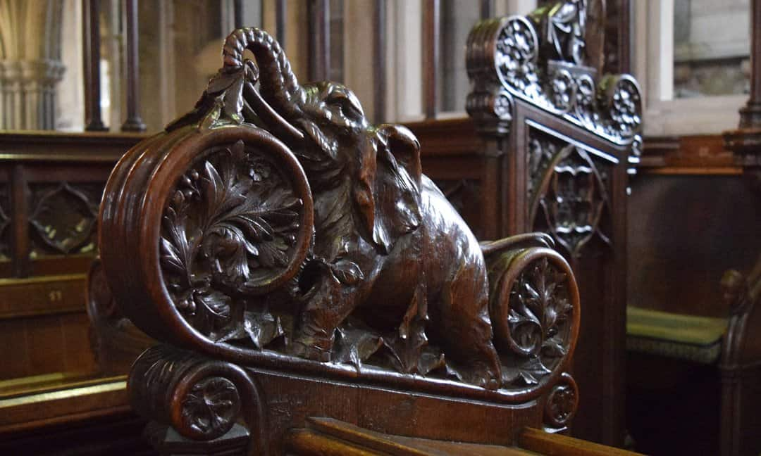 Carved elephant in the quire at Exeter Cathedral.