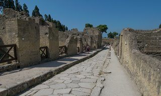 A street running through Herculaneum.
