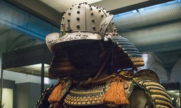 A composite model of several sets of Samurai armour from Japan now on display in the Royal Albert Museum in Exeter.