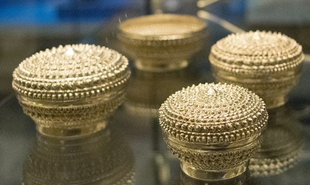 Silver containers from southern Asia stored the ingredients for betel nut chewing.