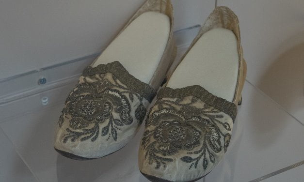 Silk shoes made in Turkey during the Ottoman period.