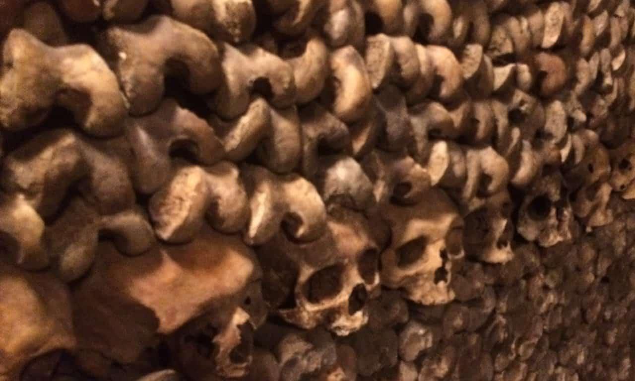 Human bones in the Catacombs in Paris.