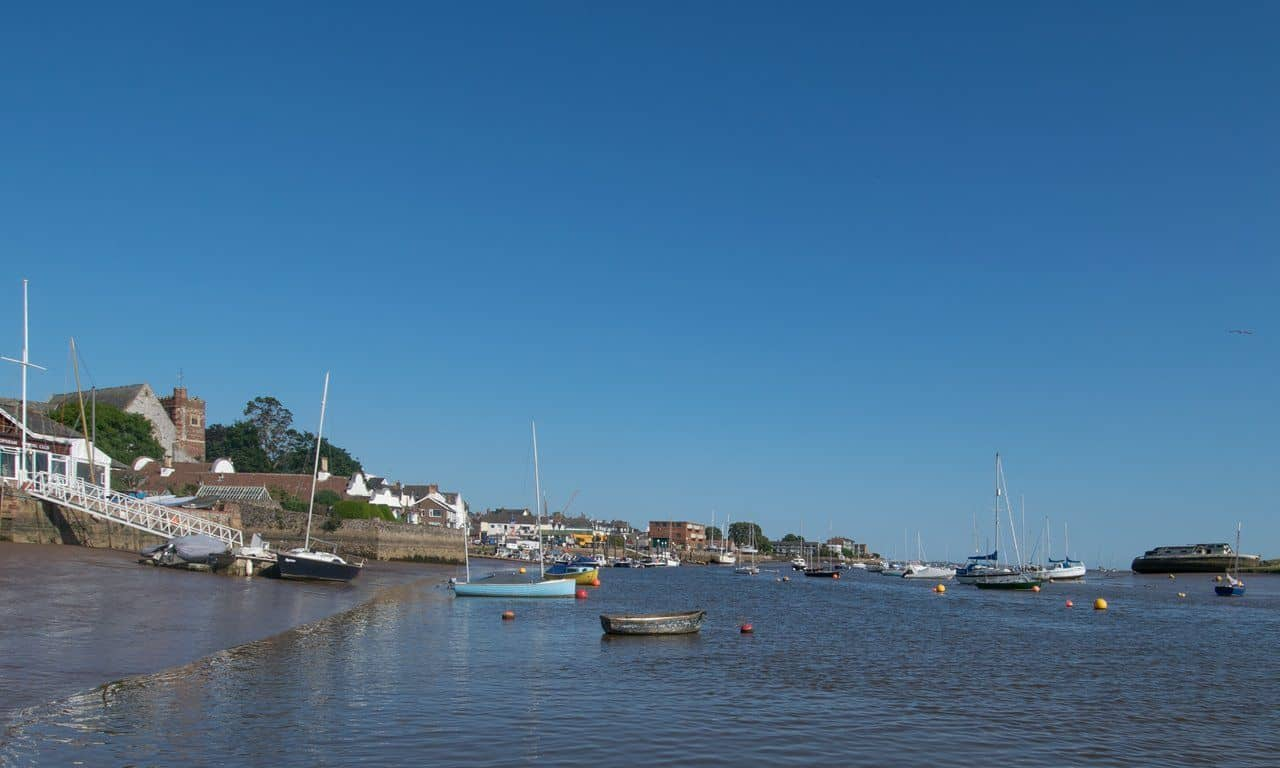 Looking down the River Exe towards the sea in Topsham.