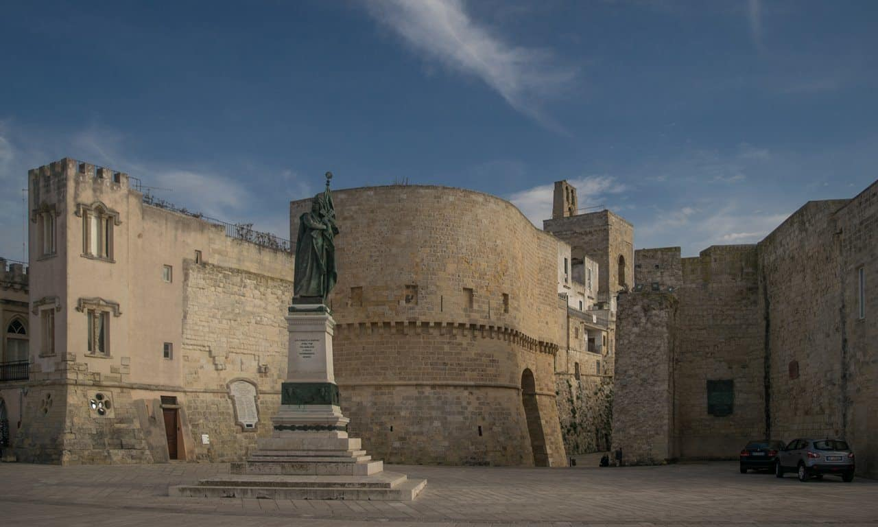 Medieval walls surrounding the older part of Otranto. Puglia.